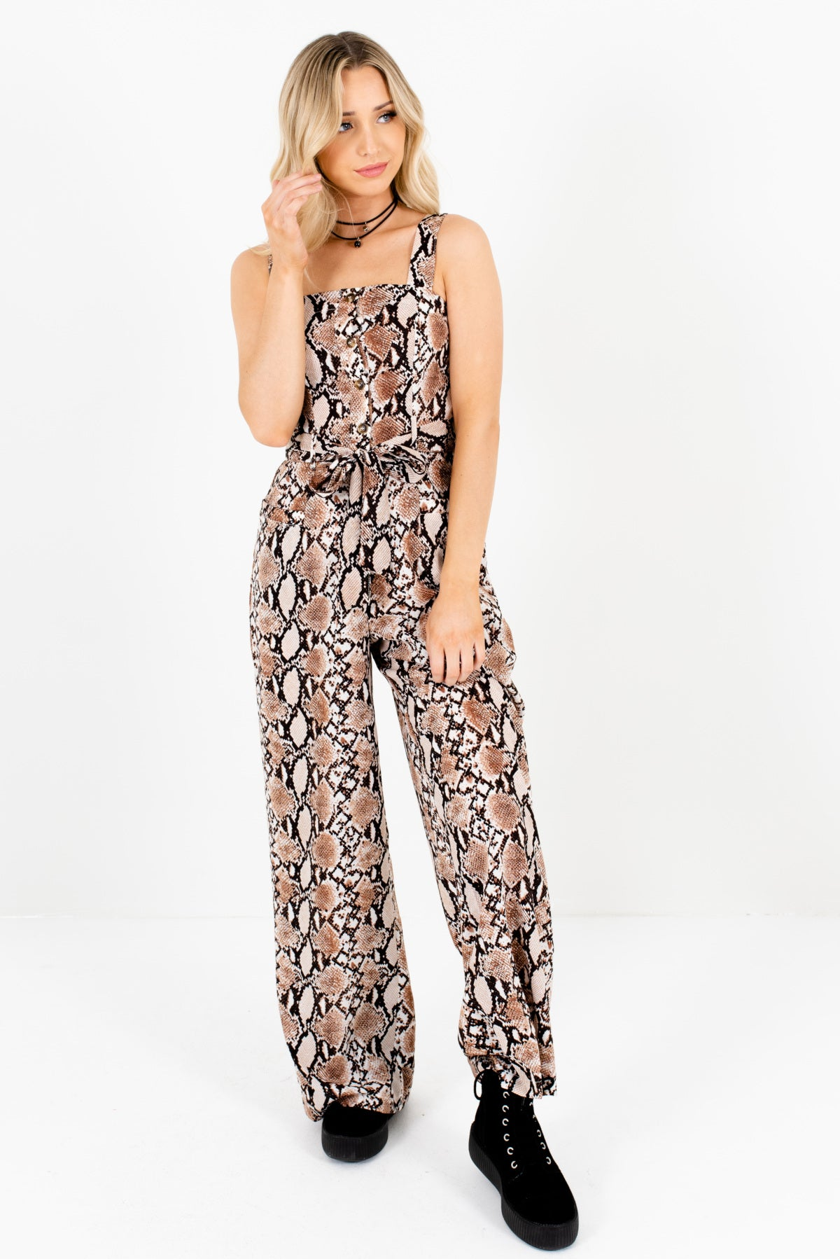 casual shoes purchase authentic cheap for sale Love Bite Brown Snakeskin Jumpsuit