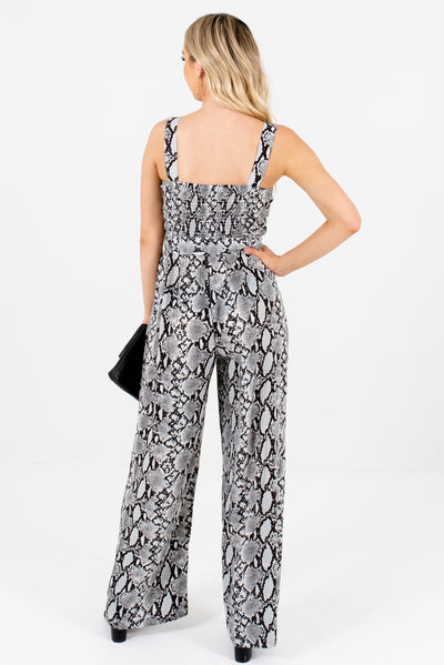 Women's Gray Button-Up Bodice Boutique Snakeskin Jumpsuit
