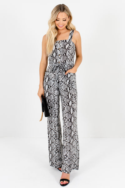 Gray Black and White Snakeskin Patterned Boutique Jumpsuits for Women