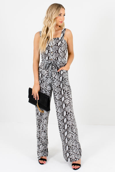 Gray Snakeskin Tie Front Boutique Jumpsuits for Women