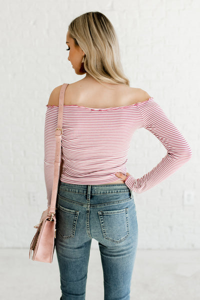 Pink and White Striped Women's Long Sleeve Tops
