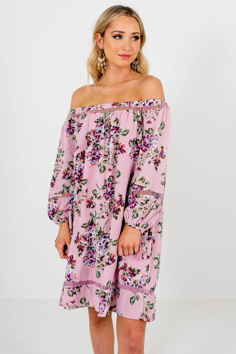 Love Crazy Pink Floral Off Shoulder Mini Dress