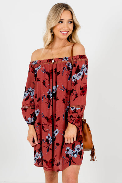 Brick Rose Red Floral Boutique Mini Dresses for Women