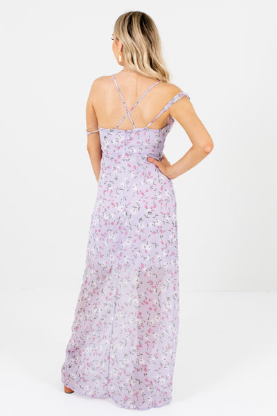 Lilac Purple Cold Shoulder Floral Maxi Dresses for Women