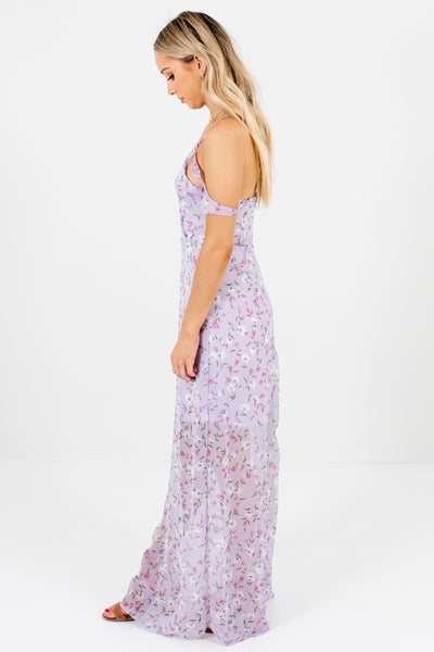 Lilac Purple Floral Print Cold Shoulder Maxi Dresses Boutique