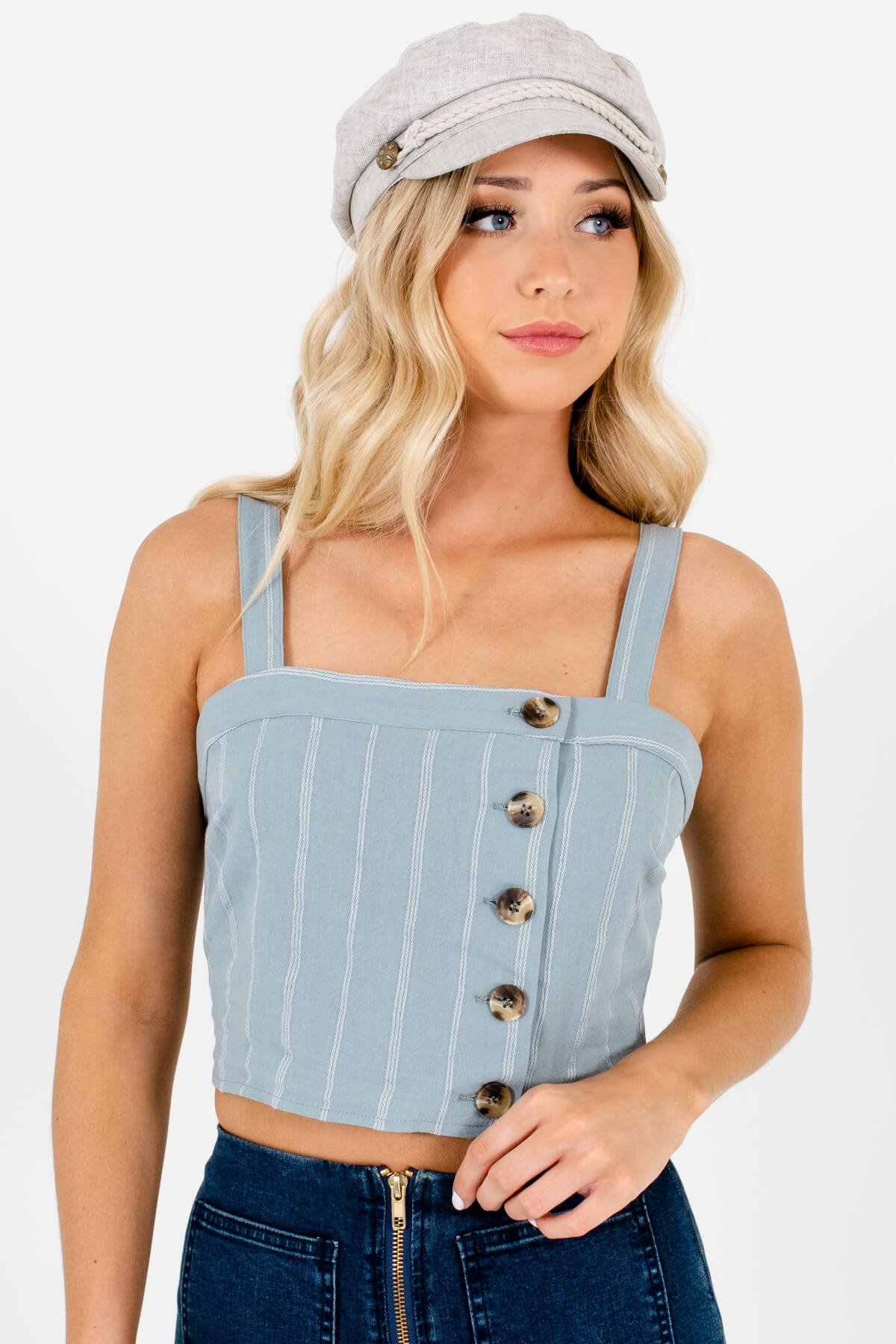 Light Blue and White Striped Boutique Tank Tops for Women