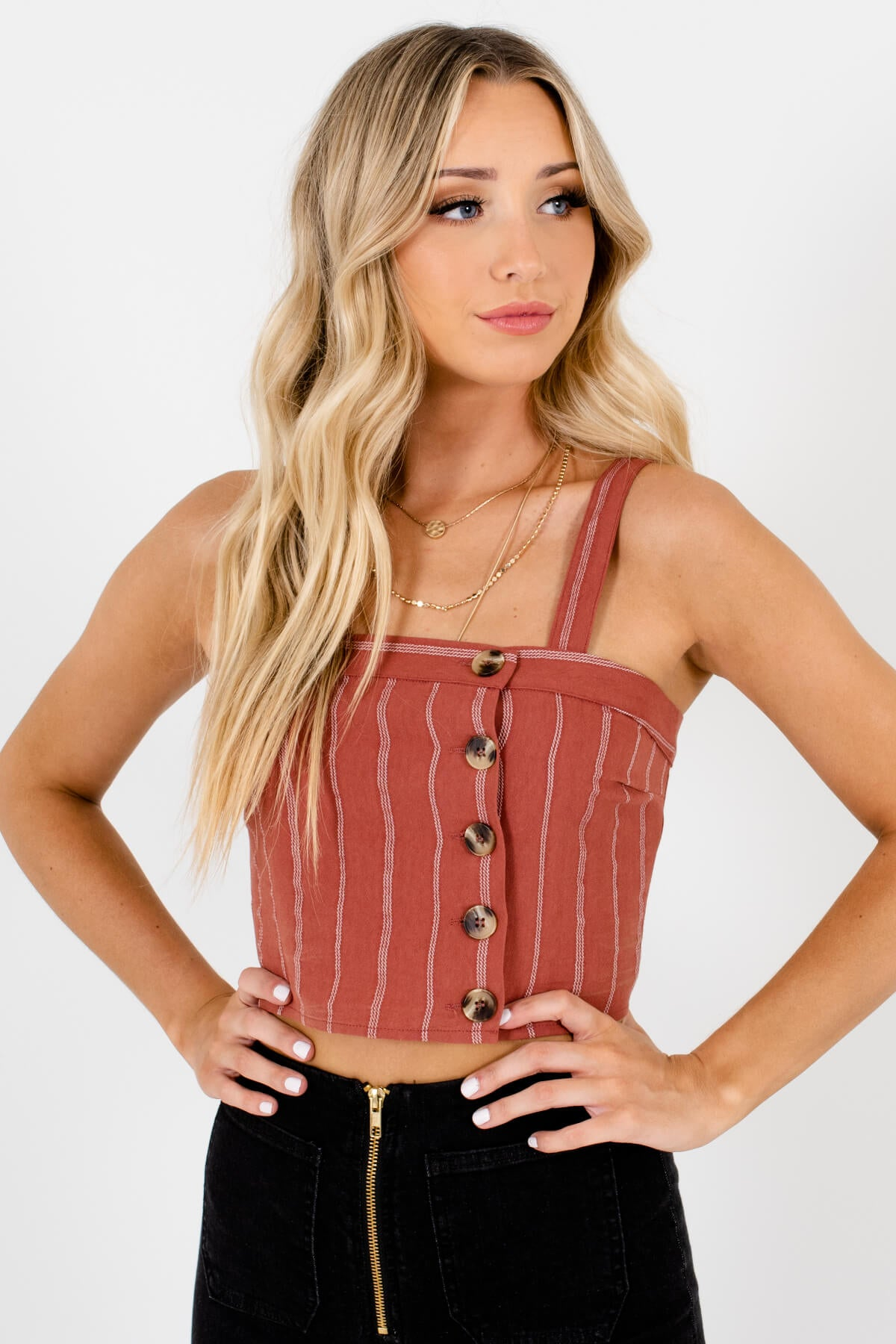 Rust Orange and White Striped Boutique Tank Tops for Women