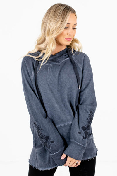 Navy Blue Embroidered Boutique Hoodies for Women