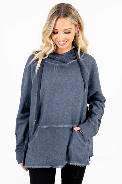 Navy Blue Front Pocket Boutique Hoodies for Women