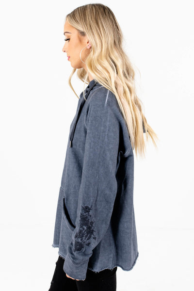 Navy Blue Oversized Relaxed Fit Boutique Hoodies for Women