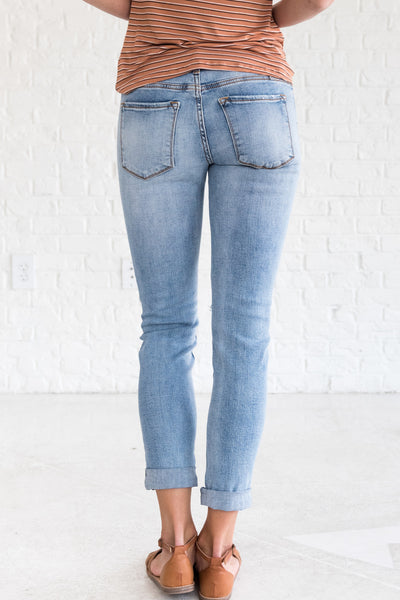 Light Wash Blue Distressed Jeans