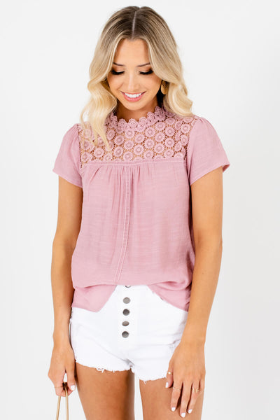 Pink Ladder Lace Accented Boutique Tops for Women