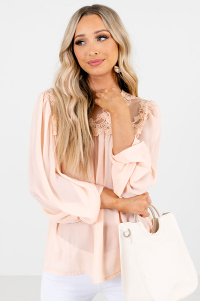 Peach Pink Cute and Comfortable Boutique Blouses for Women