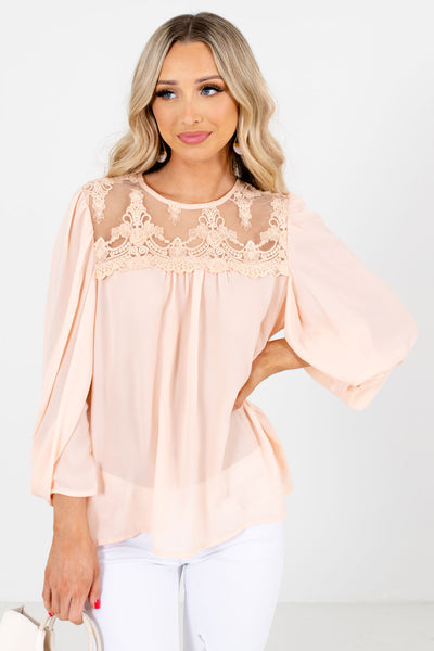 Peach Pink Semi-Sheer Lace Bodice Boutique Blouses for Women