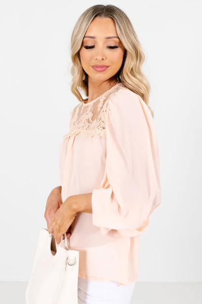 Peach Pink Long Sleeve Boutique Blouses for Women