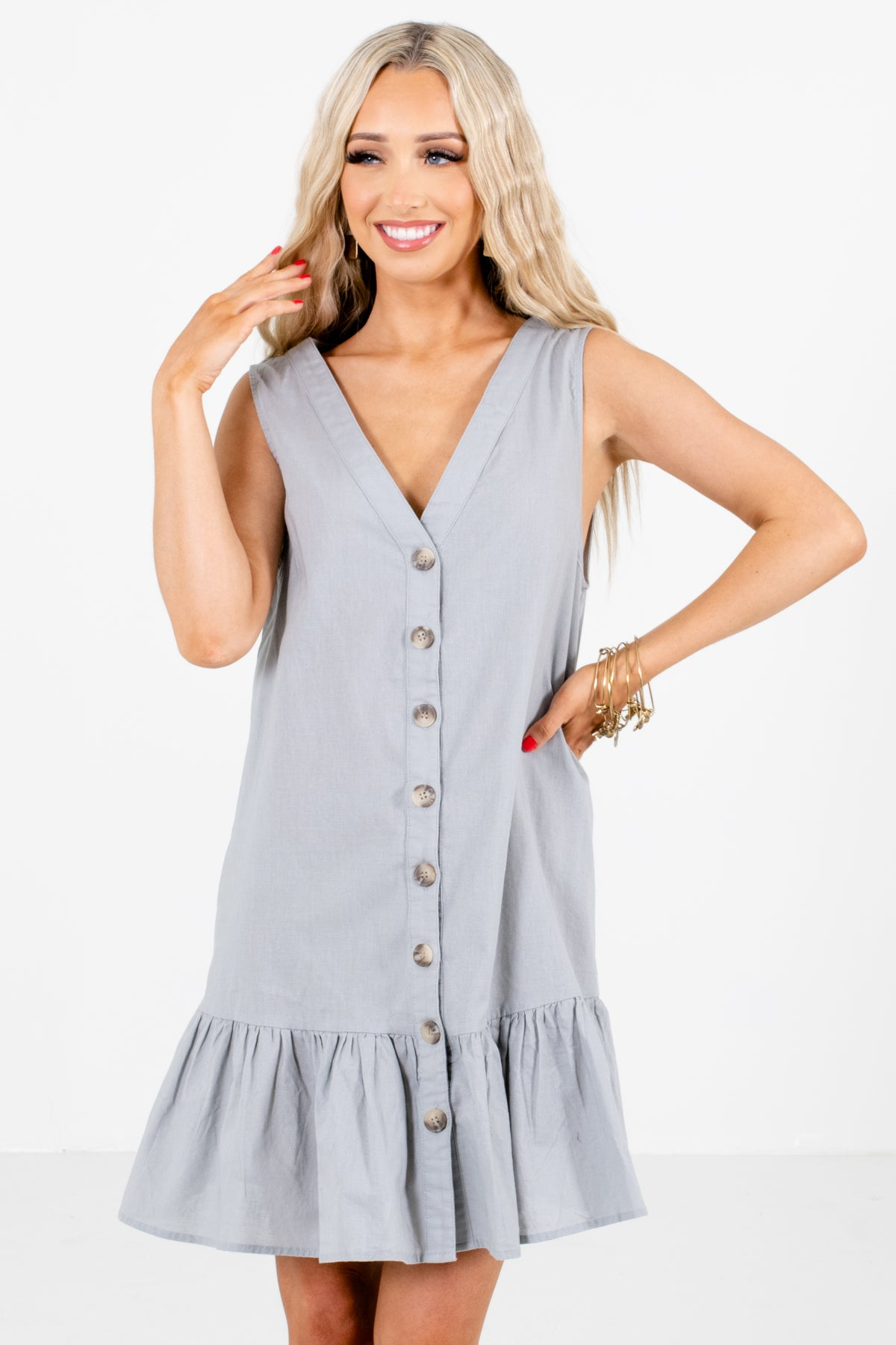 Green Button-Up Front Boutique Mini Dresses for Women