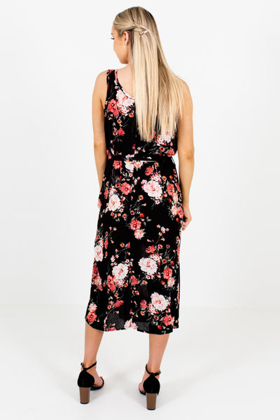 Women's Black Floral Boutique Dress with Waist Tie Detail