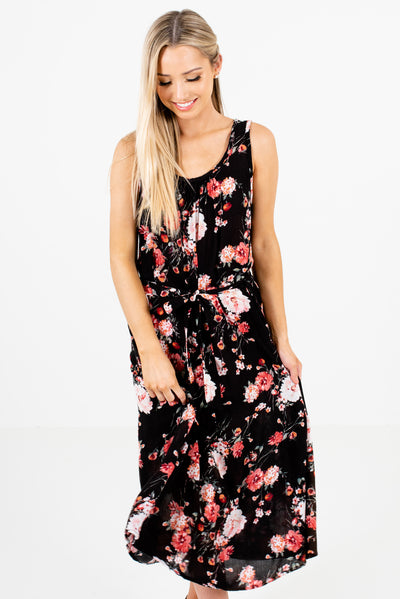 Women's Black Multicolored Floral Cute Boutique Midi Dress