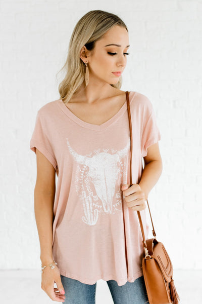 Pink and White Oversized Boutique Graphic T Shirts for Women