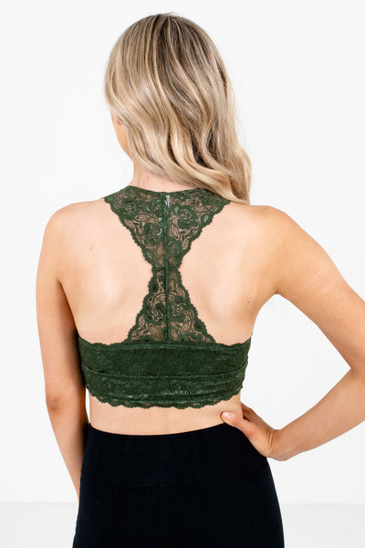 Women's Green Racerback Style Boutique Bralette