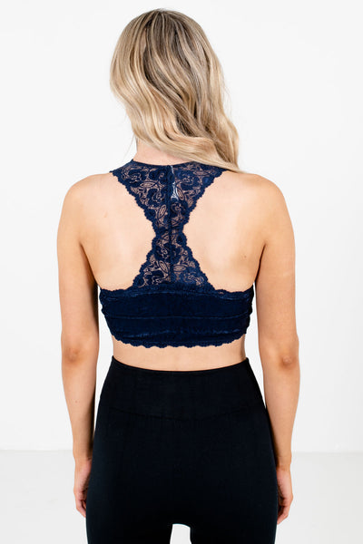 Women's Navy Blue Partially Lined Boutique Bralettes