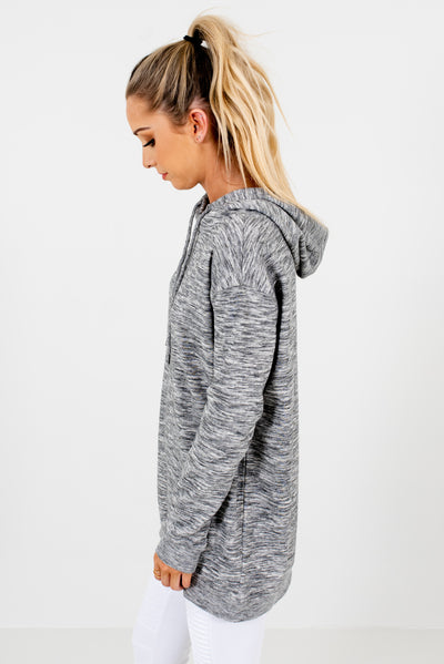 Heather Gray Long Sleeve Boutique Hoodies for Women