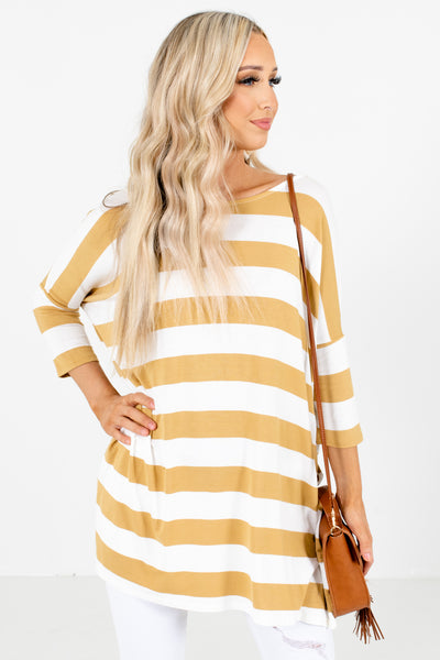 Yellow Round Neckline Boutique Tops for Women