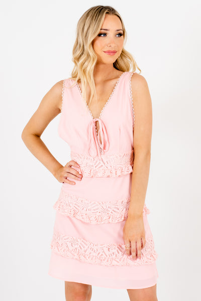 Light Pink Tiered Crochet Lace Trim Tie-Front Mini Dresses for Women