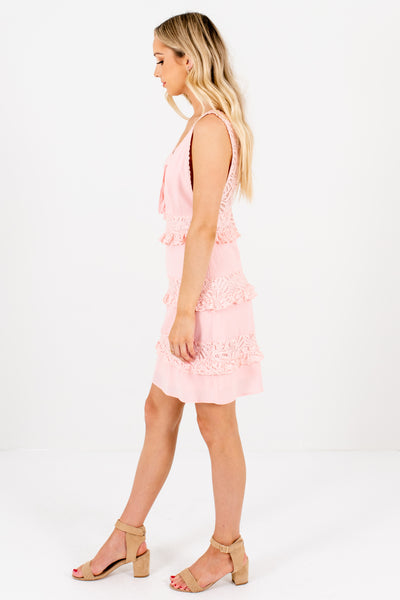 Light Pink Tiered Crochet Lace Mini Dresses with Lace Trim