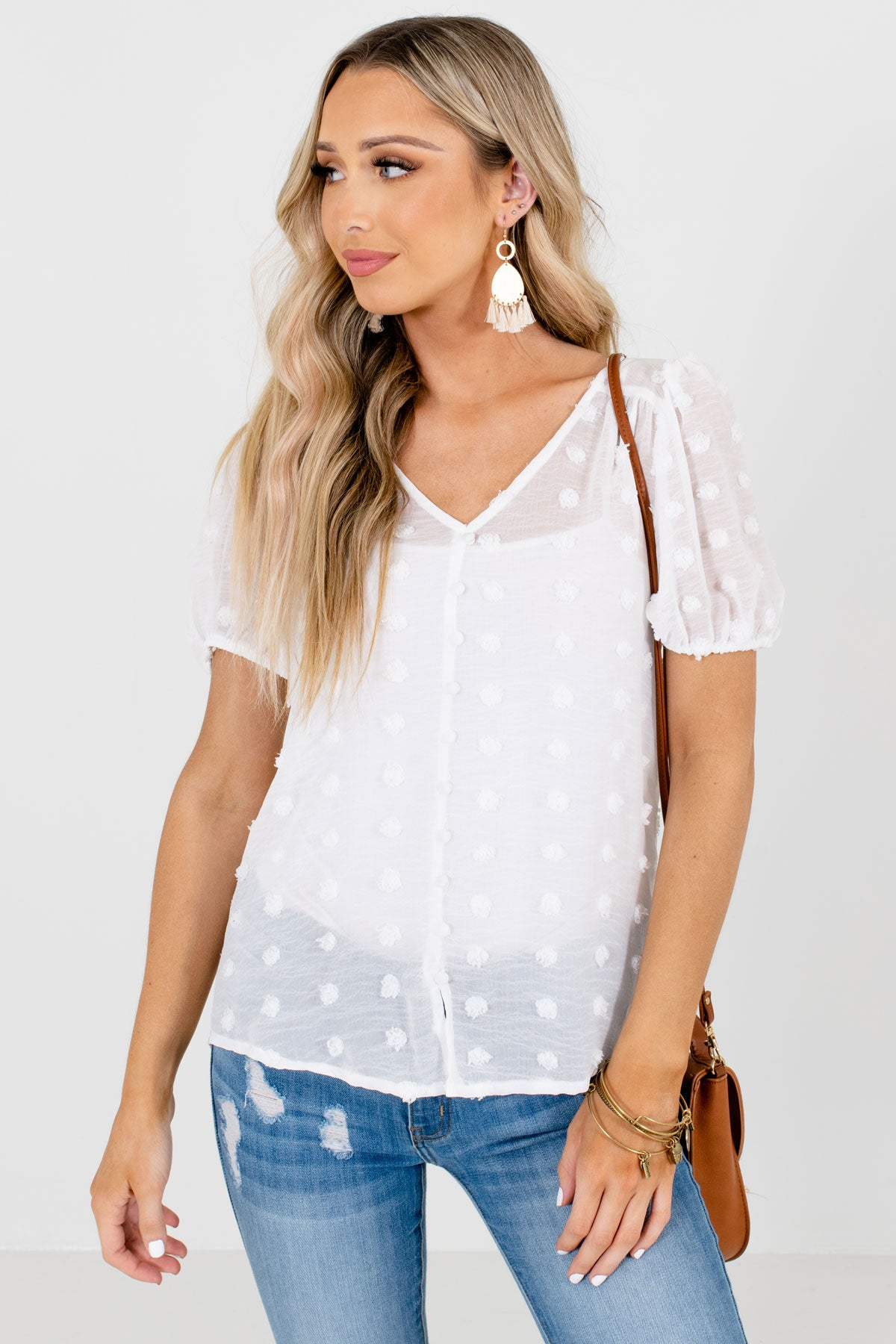 White Polka Dot Textured Material Boutique Blouses for Women