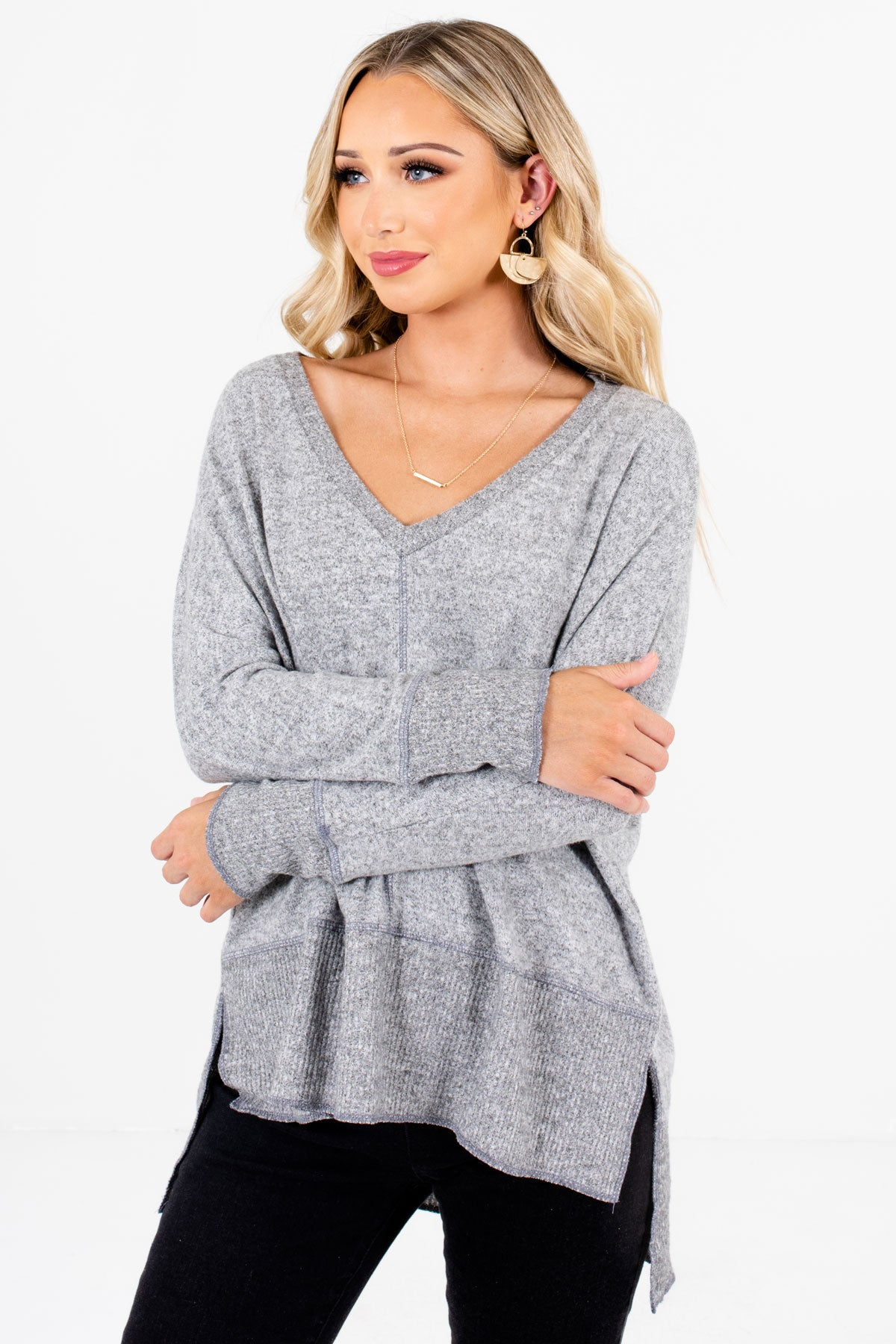 Heather Gray High-Quality Soft Material Boutique Tops for Women