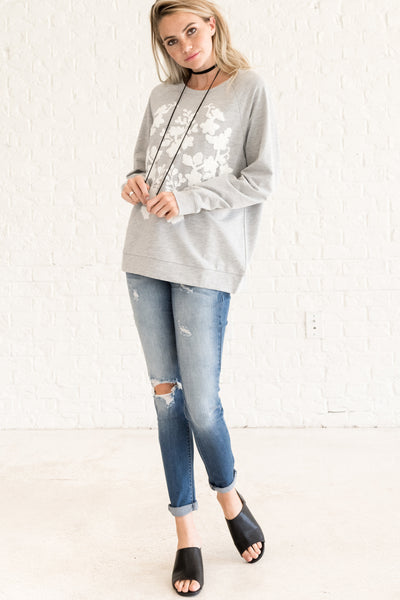 Gray Oversized Boyfriend Pullover with Fuzzy Embroidery
