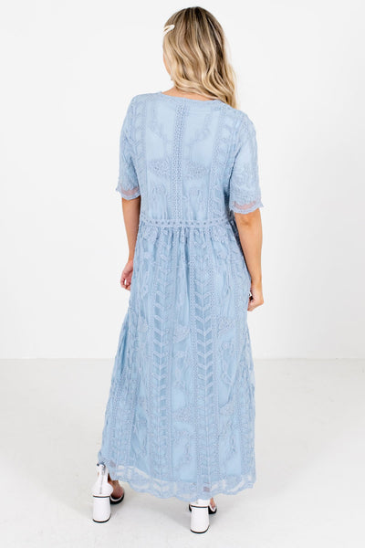 Women's Blue Zipper Back Boutique Maxi Dress