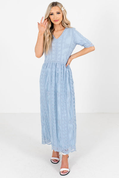 Blue Floral Lace Overlay Boutique Maxi Dresses for Women
