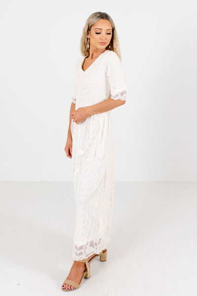 Cream High-Quality Lace Boutique Maxi Dresses for Women