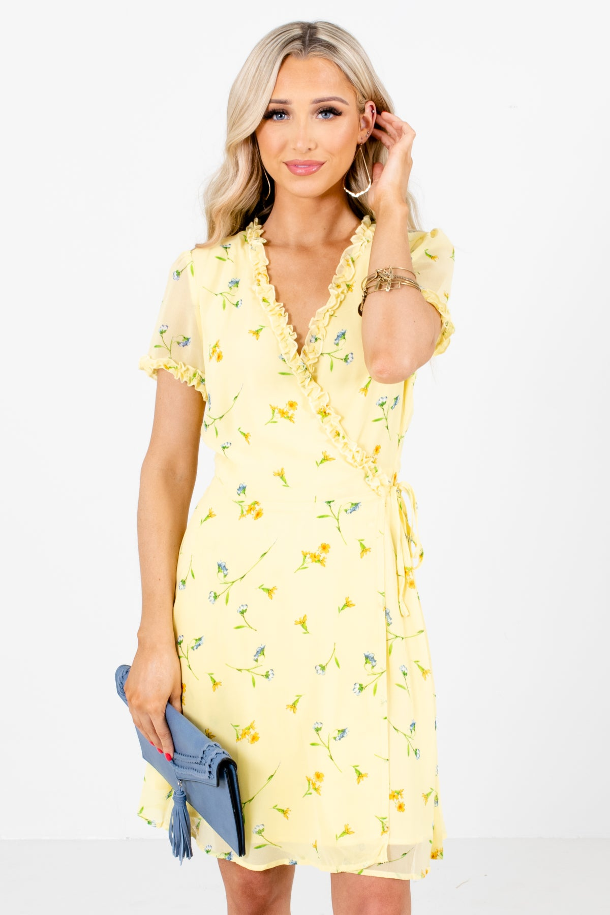 Yellow Multicolored Floral Patterned Boutique Mini Dresses for Women
