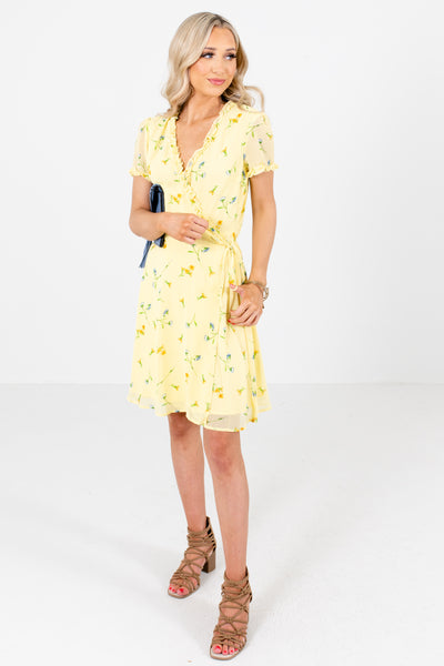 Women's Yellow Ruffle Accented Boutique Mini Dress