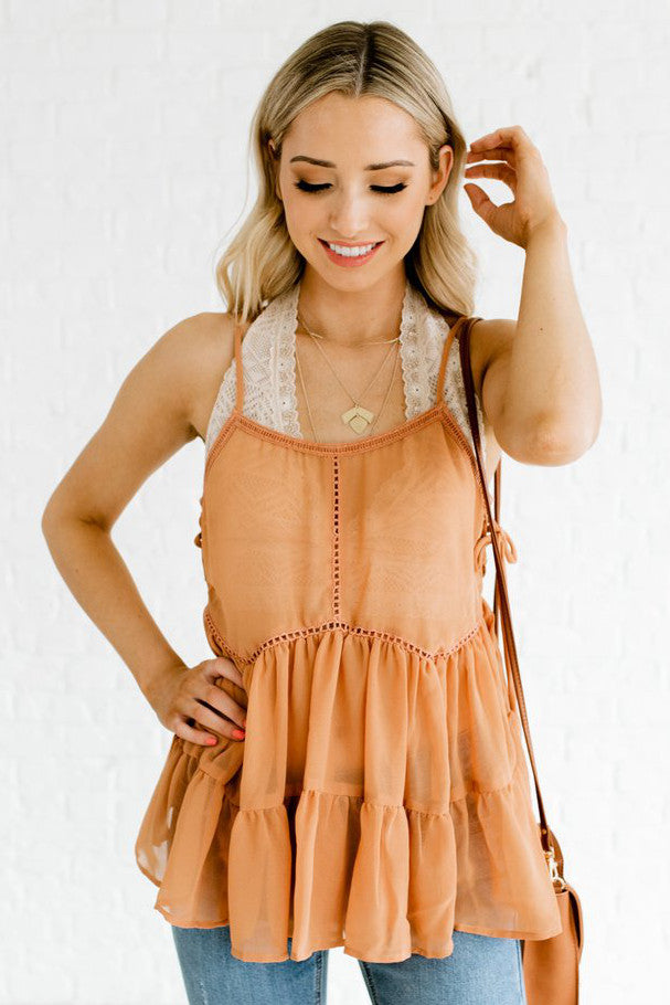Bronze Orange Tiered Bodice Boutique Tank Tops for Women