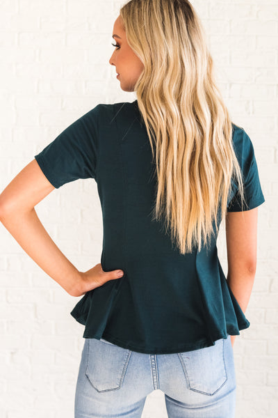Teal Blue Business Casual Women's Tops