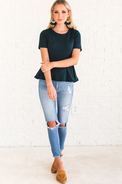 Teal Blue Flowy Women's Tops