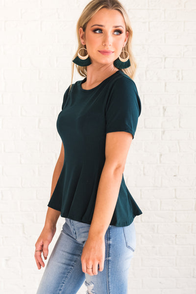Teal Blue Peplum Style Tops for Women