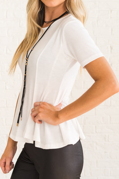 White Soft and Stretchy Comfortable Tops for Women