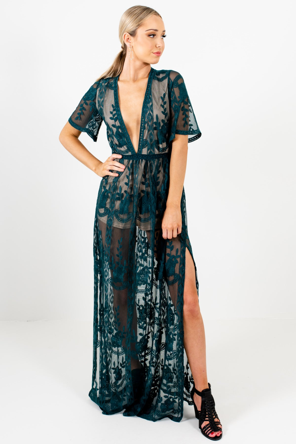 Forest Green Floral Lace Overlay Maxi Romper Dresses for Women