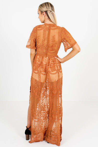 Tawny Orange Brown Floral Lace Overlay Romper Lined Dresses