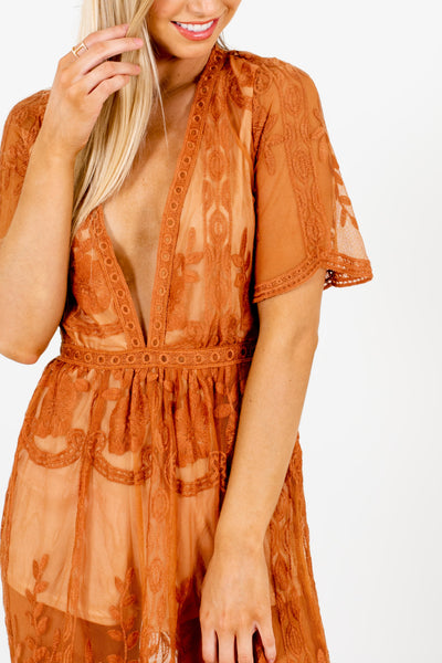 Tawny Orange Floral Lace Overlay Maxi Romper Dresses for Women