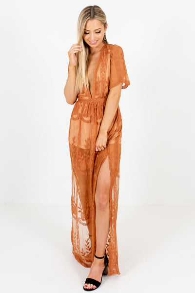 Tawny Orange Caramel Brown Lace Maxi Romper Dresses