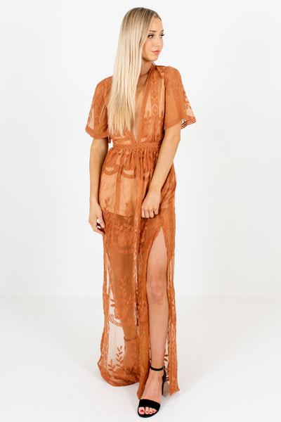 Tawny Orange Crochet Lace Overlay Semi Sheer Maxi Romper Dresses