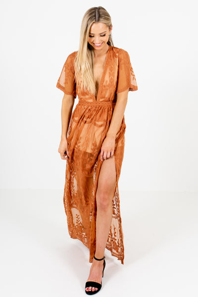Tawny Orange Cute Floral Lace Overlay Maxi Romper Dresses