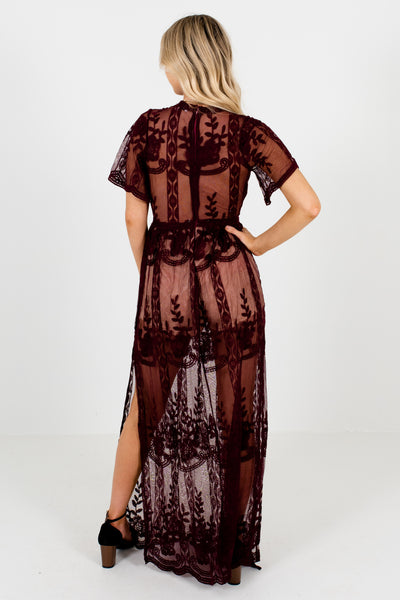 Wine Purple Floral Crochet Lace Overlay Rompers with Split Hem Dresses