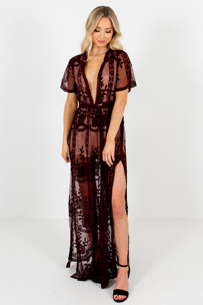 Wine Purple Lace Floral Overlay Romper Maxi Dresses